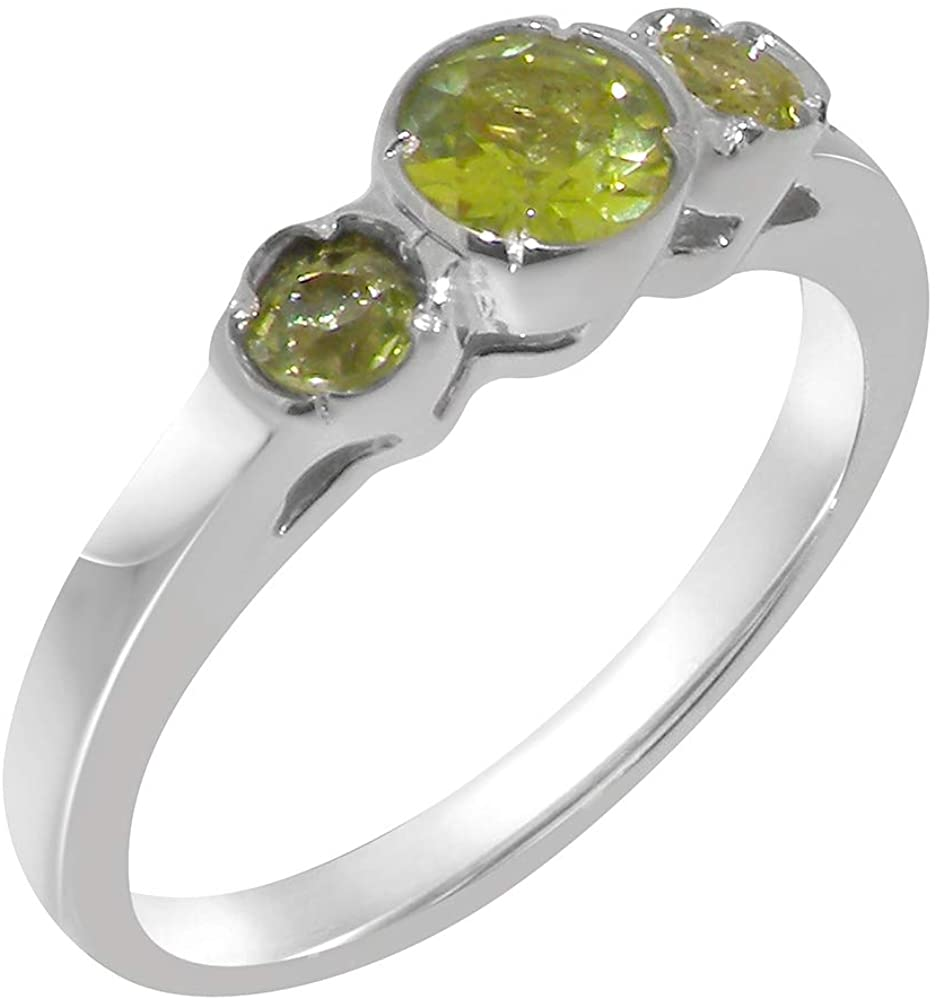 Solid 14k White Gold Natural Peridot Womens Trilogy Ring - Sizes 4 to 12 Available