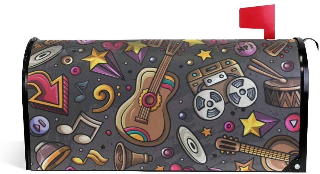 SLHFPX Mailbox Covers Magnetic Music Theme Party Mail Wraps Boxes Cover Outdoor Letter Post Box Cover Wrapped Oversize 25.4 x 20.78 Inch for Post-Mount Mailboxes Home Garden Yard Decor
