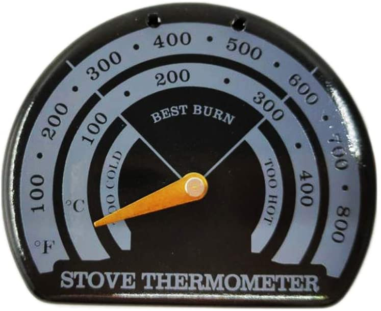 Rhfemd Magnetic Wood Fireplace Fan Stove Thermometer with Probe Household Barbecue Tool