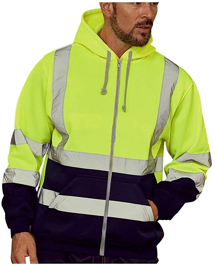 cobcob Men's Jacket Hooded,Zipper Drawstring Patchwork Coat Pockets Road Work High Visibility Big and Tall Outdoor Outwear