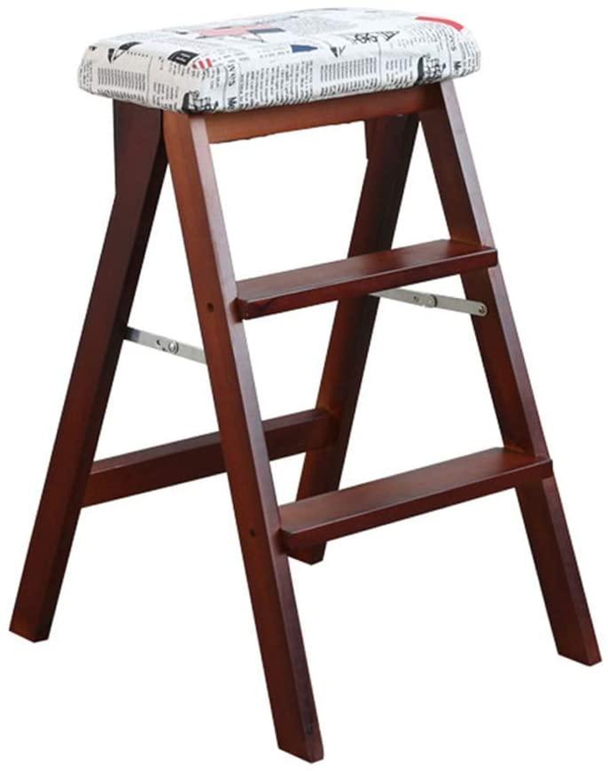 WLG Step Stool for Adults Step Stool Solid Wood Ladder Multifunction Folding Kitchen Steps Library Office 3 Step Mini Stepladder / K2 / k2