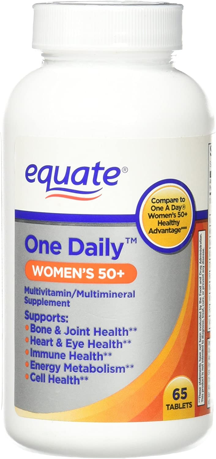 One Daily Women's 50+ Multivitamin/Multimineral Supplement 65ct By Equate, Compare to One A Day Women's 50+ Healthy Advantage