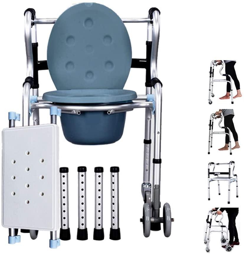 Wheel Walker Commode Chair Seat Bath Chair Walking Frame Lightweight Folding Walker 4 Wheel Adjustable Height Aluminum Roller