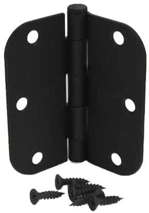 (Pack of 15) 3 1/2 Inch Matte Black Door Hinges with 5/8