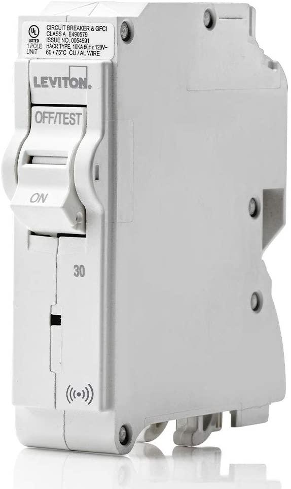 Leviton LB130-S 30 Amp, 1-Pole Plug-on Smart Standard Branch Circuit Breaker, 120 VAC, White