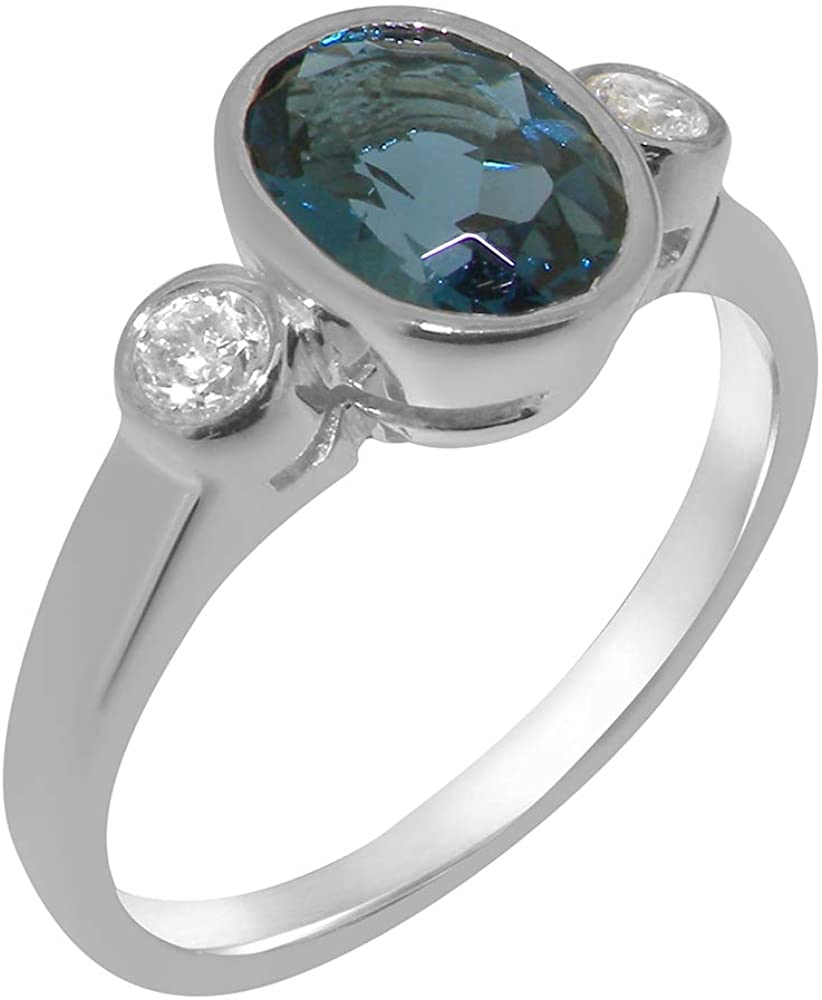 Solid 14k White Gold Natural London Blue Topaz & Cubic Zirconia Womens Trilogy Ring - Sizes 4 to 12 Available