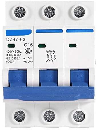 3-pole miniature circuit breaker, 10/6/16/20 A, 400 V (16 A)