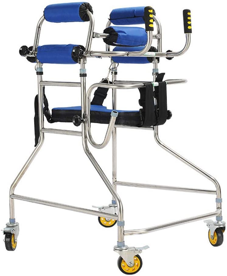 HTLLT Walking Aid Medical Instruments Walker Standing Underarm Frame with Anti-Slip Wheel High Carbon Metal Pipe Frame Height and Width Adjustable Elderly Bearing 100Kg for Disabled People