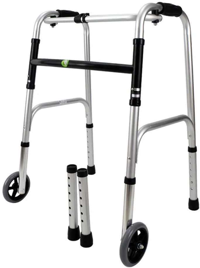 HTLLT Walking Aid Lightweight Aluminum Folding Walker with One-Click Folding, Adjustable Height, No Assembly Needed,No Wheels
