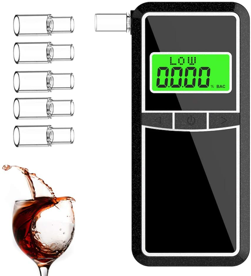 Breathalyzer, AHUIFT Professional Alcohol Tester, Portable Digital LCD Breathalyzer High-Accuracy Breath Alcohol Tester for Drivers Or Home Use with 5 Mouthpieces & a Storage Bag [FDA Certification]