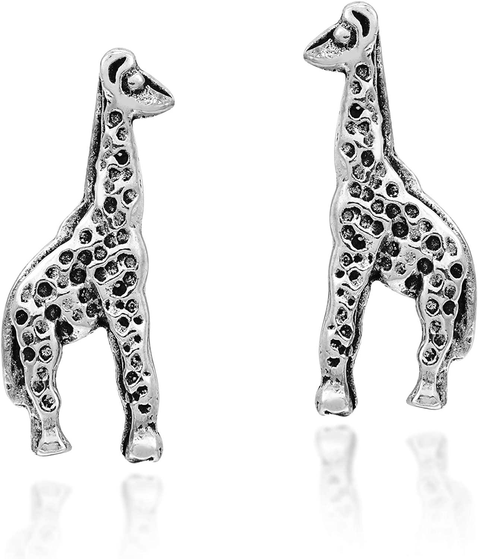 Unique African Giraffes .925 Sterling Silver Stud Earrings