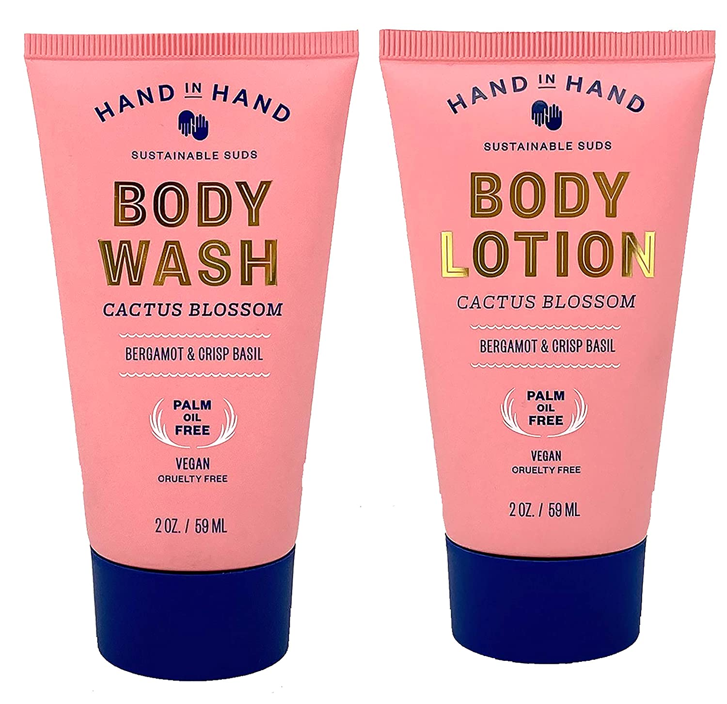Hand in Hand Cactus Blossom Lotion and Body Wash Set 2 Ounce - Vegan and Cruelty Free