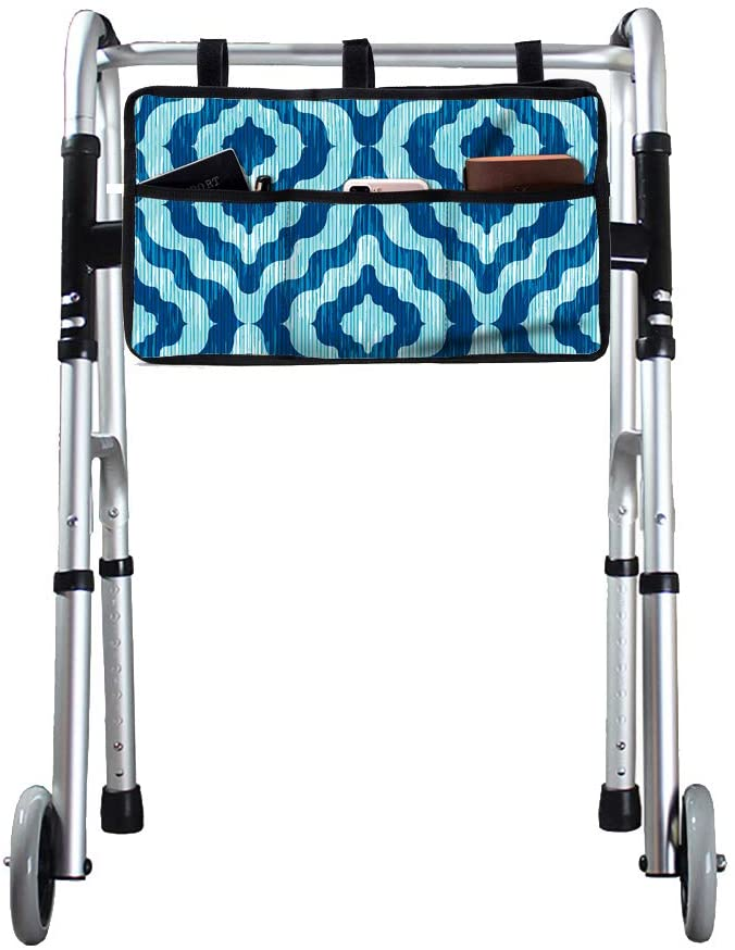 Fushida Walker Storage Bag with 5 Pockets,Rollator Organizer Pouch for Disabled Seniors,Versatile Tote Bags Store with iPhone Holder,Durable & Multiple Pockets for Walkers/Rollators/Scooters,GJ611