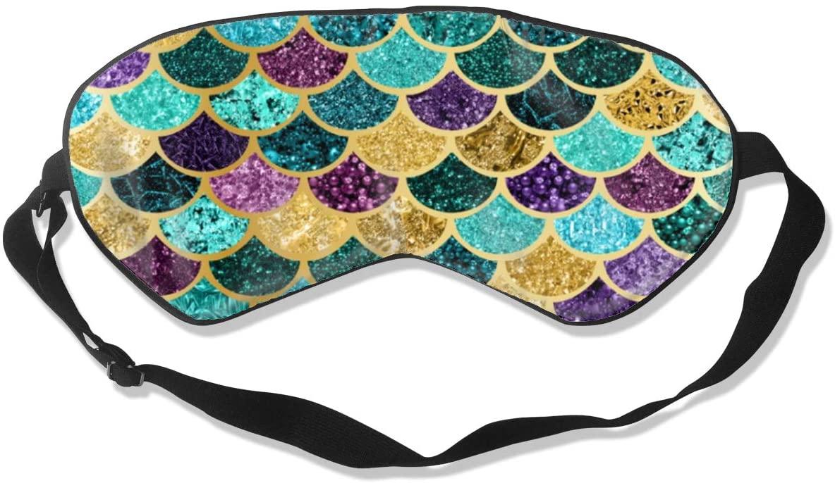 Sleep Eye Mask For Men Women,Glitter Mermaid Scales Soft Comfort Eye Shade Cover For Sleeping