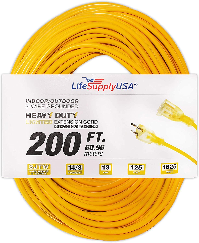 LifeSupplyUSA 10 Pack - 14/3 200ft SJTW 15 AMP 125V Lighted End Indoor/Outdoor Extension Cord (200 feet)