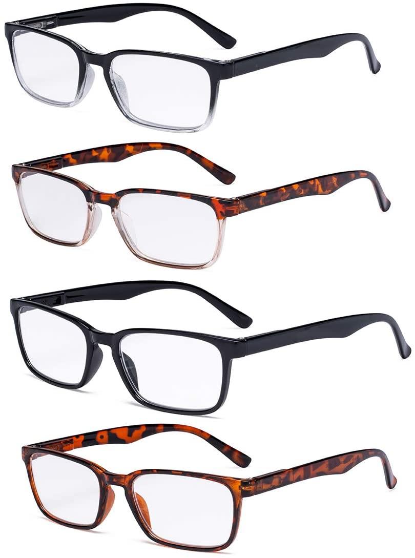 Eyekepper 4-Pack Readers Retro Spring Hinges Reading Glasses +1.75