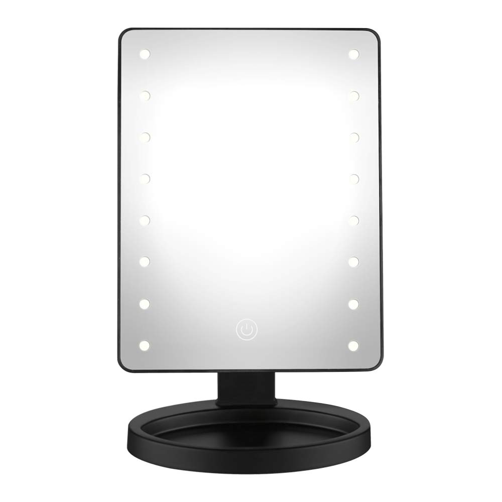 Conair Reflections LED Lighted Vanity Makeup Mirror with Touch Screen, Black