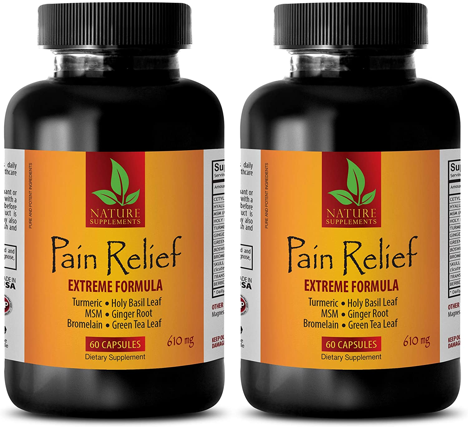 Pain Stop - Pain Relief 610MG - Extreme Formula - Green Tea Capsules - 2 Bottles (120 Capsules)