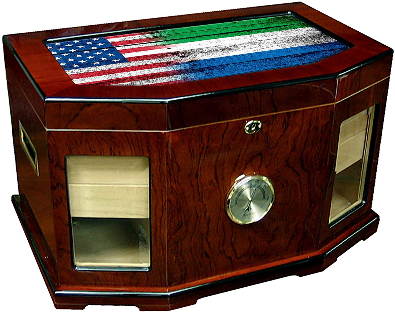 Large Premium Desktop Humidor - Glass Top - Flag of Sierra Leone (Leonean) - Wood with USA Flag - 300 Cigar Capacity - Cedar Lined with Two humidifiers & Large Front Mounted Hygrometer.