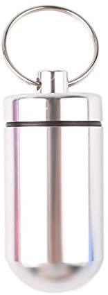 Keyzne 1Pc Aluminum Pill Box Case Medicine Bottle Holder Container Keychain Silver Beautiful