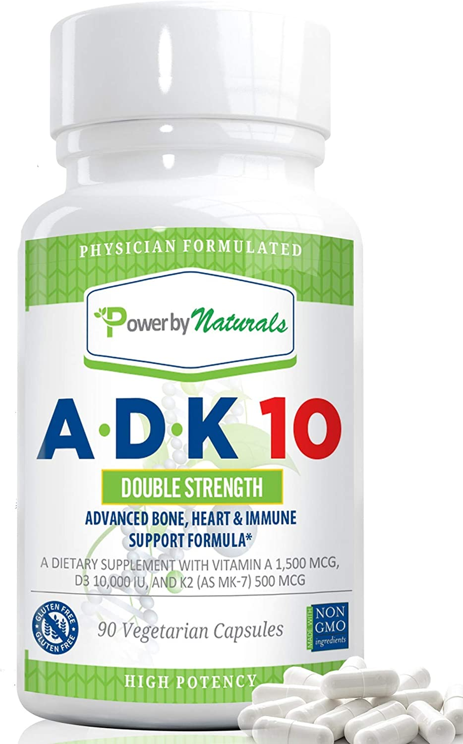 Power By Naturals - ADK 10 Vitamin - Dr Formulated, Double Strength A D K 10000 iu - High Potency ADK10 - Vitamins A, D3 (10,000 iu), K2 (as MK-7) - Supplement for Bones Heart Immune Support, 90 Pills