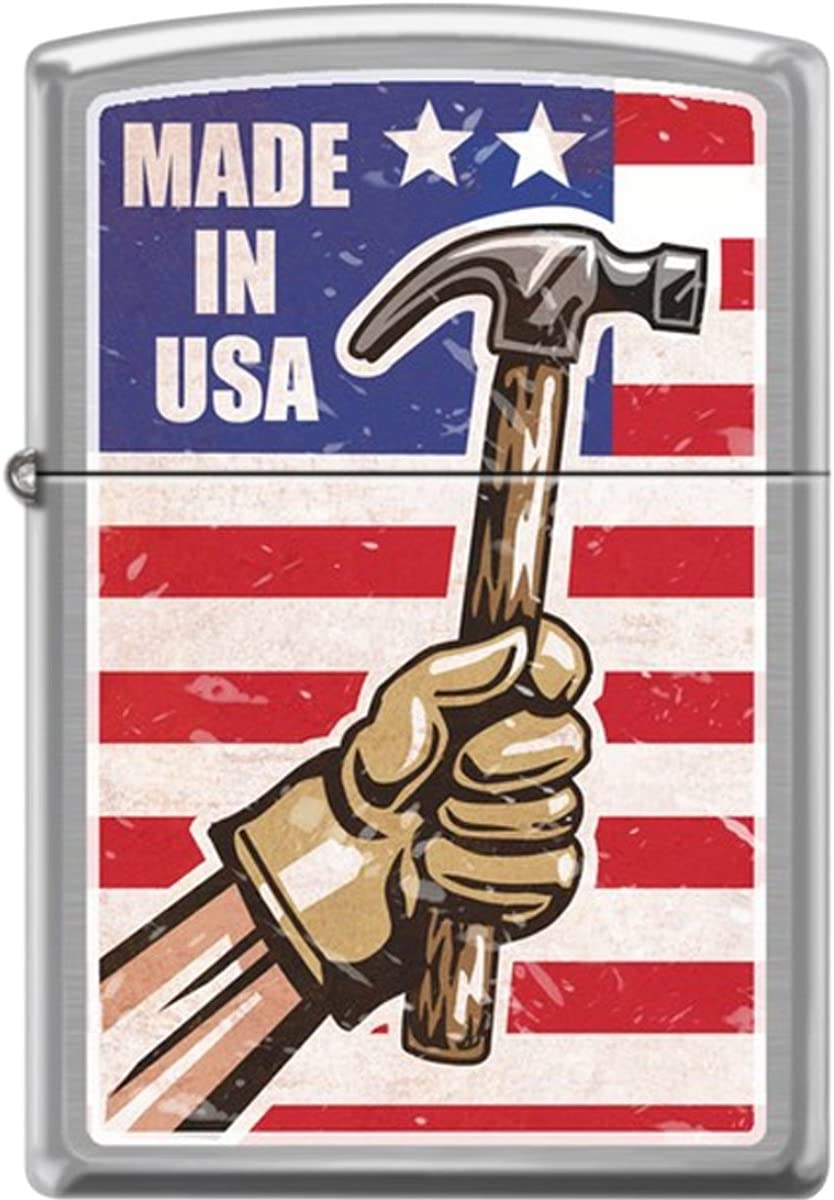 Zippo Made in USA Brushed Chrome Windproof Pocket Lighter
