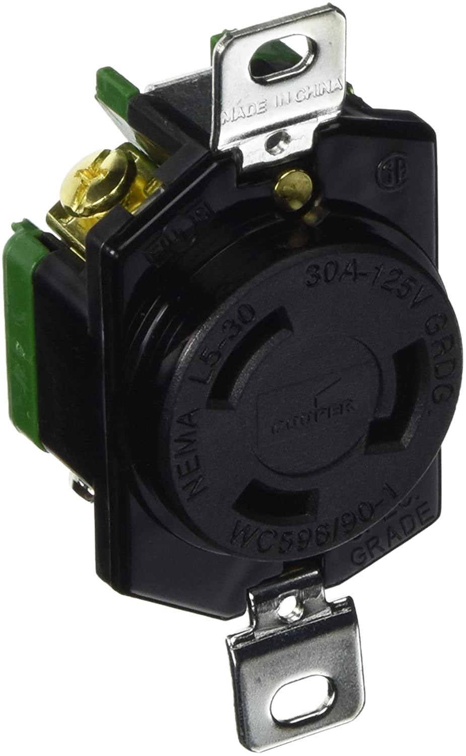 EATON Cooper Wiring Devices, L530R-Single Locking Receptacle, 30A -125V, 2-pole, 3-wire Grounding Back & Side Wire, Fed. SpeclW-C-596F