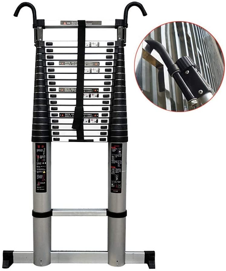 LADDERS Ladder Telescopic Ladders,5.8M/19Ft Multi Purpose Atelescopic Extension Ladder with Hooks, Heavy Duty Engineering Telescoping Ladder for Loft, 330Lbs Capacity