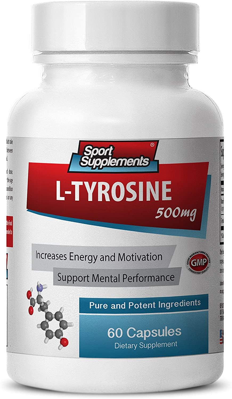 Brain Memory Supplements - L-TYROSINE 500MG - Vitamin B6 - Pure and Potent - tyrosine Supplements - 1 Bottle (60 Capsules)