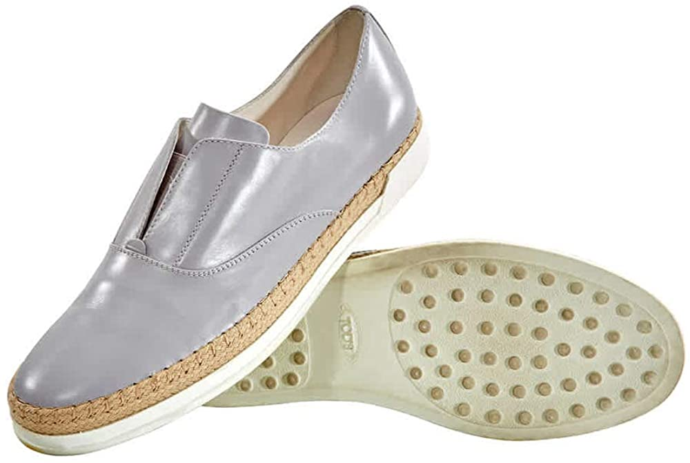 Tods Womens Espadrilles Leather Slip On Shoes Medium Cement, Brand Size 34.5 (US Size 4.5)