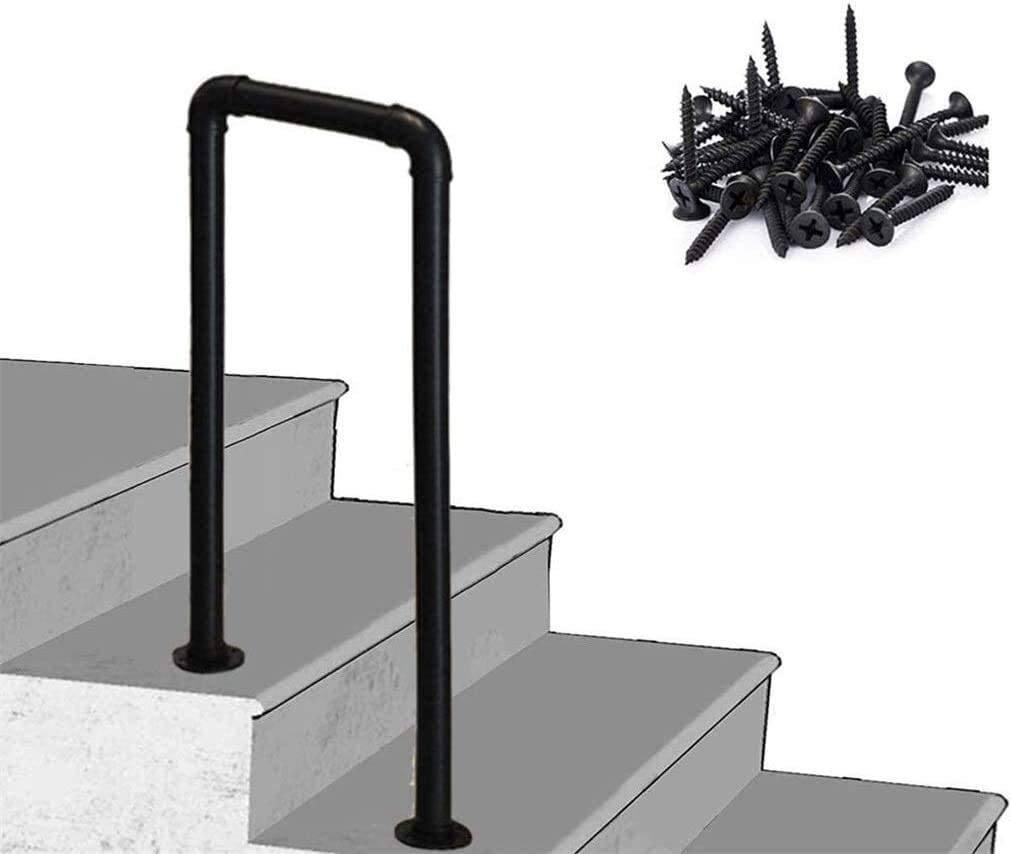Black 2 Steps Step Handrail, Industrial Iron Pipe Safety Non-Slip Stair Handrail, For Indoor And Outdoor Porch Park 0807 (Color : 4cm, Size : 75cm(29.5in))