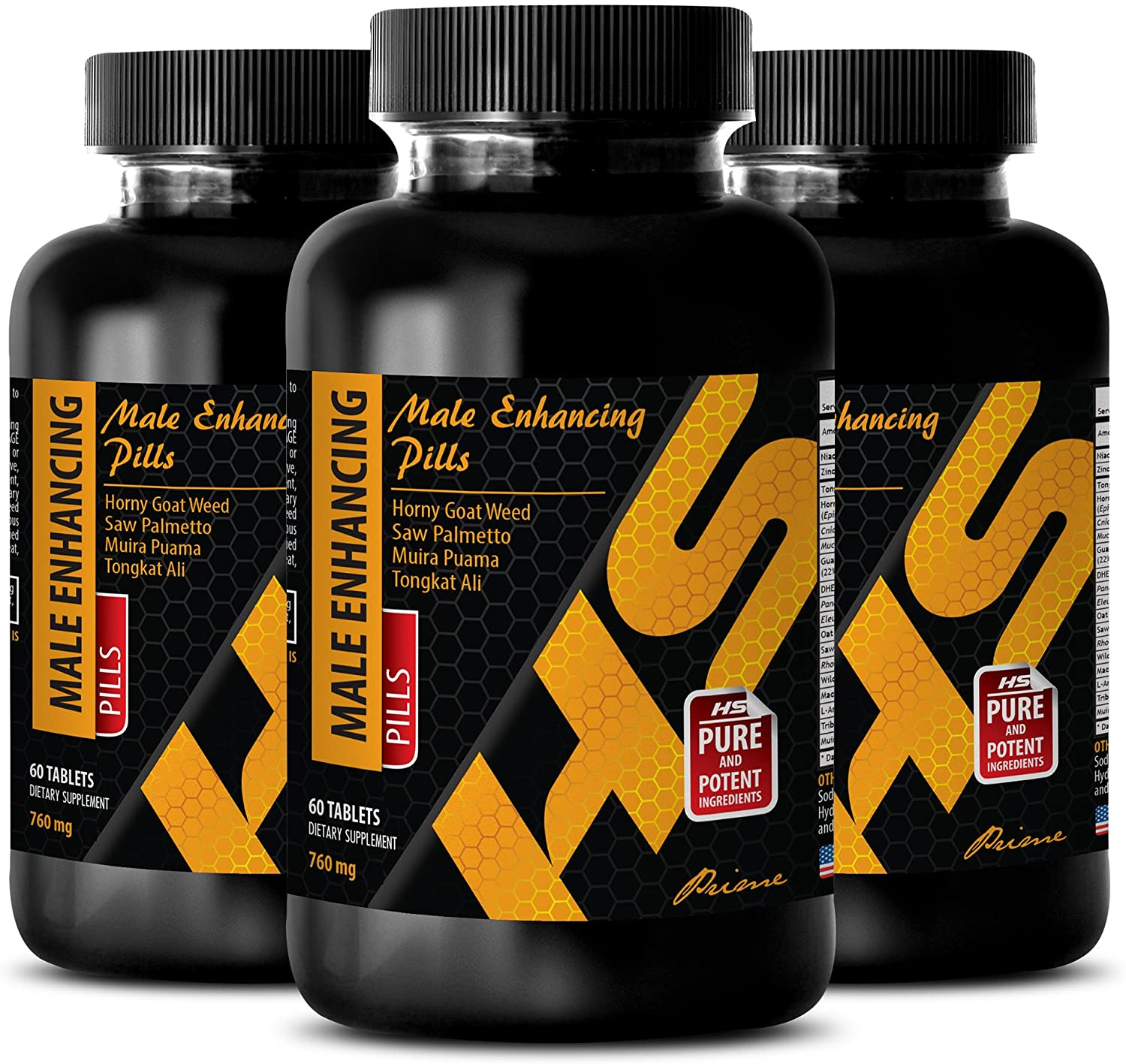 Muscle gain for Health Pills for Men - Male Enhancing Pills 760 MG - Horny Goat Weed Complex - 3 Bottles (180 Tablets)