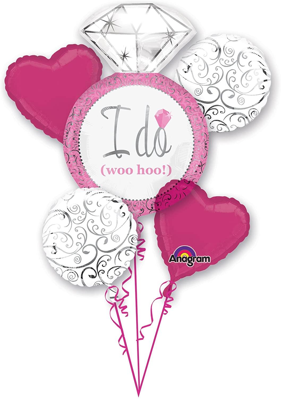 Anagram International Bright Pink Wedding Bouquet, Multicolor
