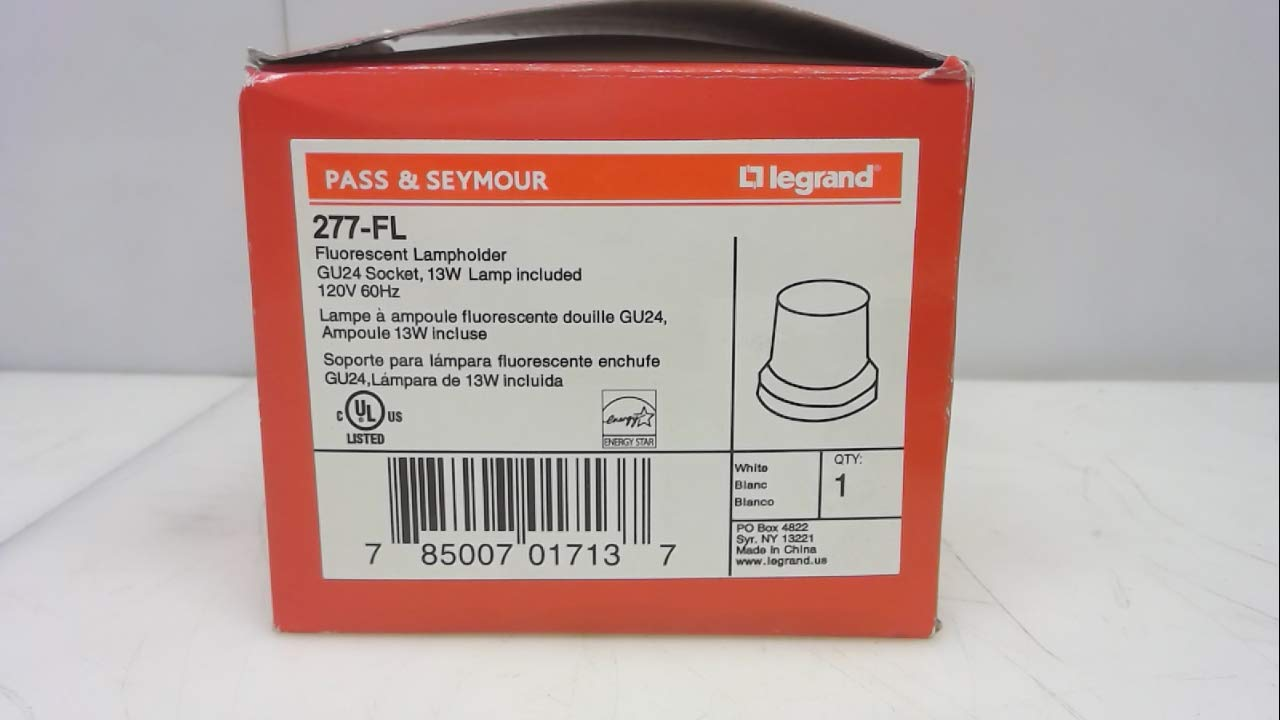 Legrand 277-Fl, Fluorescent Lampholder and Lamp, Gu24 Socket, 13W Lamp 277-Fl
