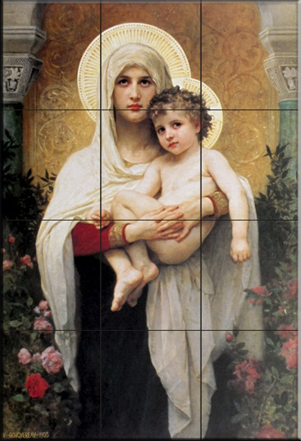 Ceramic Tile Mural - Madonna of The Roses - by William Bougeureau