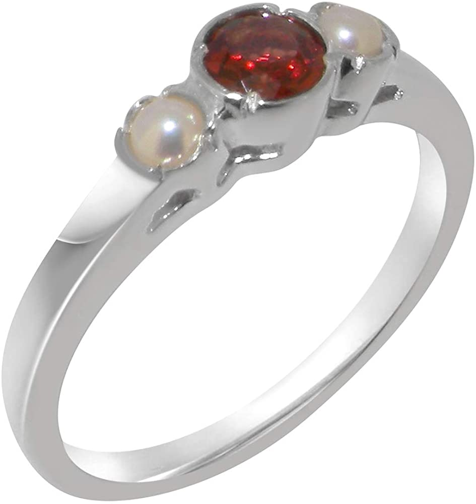 Solid 10k White Gold Natural Garnet & Cultured Pearl Womens Trilogy Ring - Sizes 4 to 12 Available