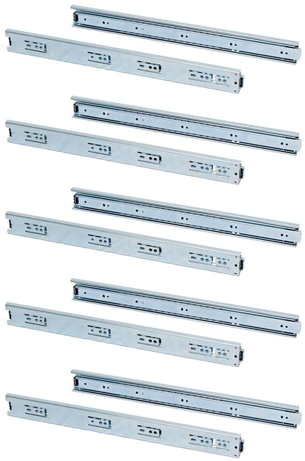 Emuca 3043305 Set of full extension ball bearing runners/slides 45mm x 350mm for drawer, Pack of 5