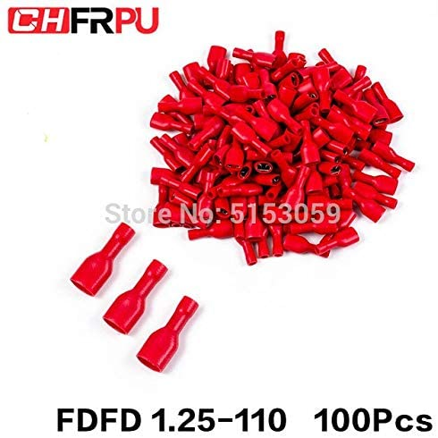 Davitu Terminals - 100PCS 2.8mm 22-16AWG FDFD/FDD/MDD1.25-110 Female male Insulated Electrical Crimp Terminal for 0.5-1.5mm2 Cable Wire Connector - (Color: FDFD 1.25-110 100Pcs)