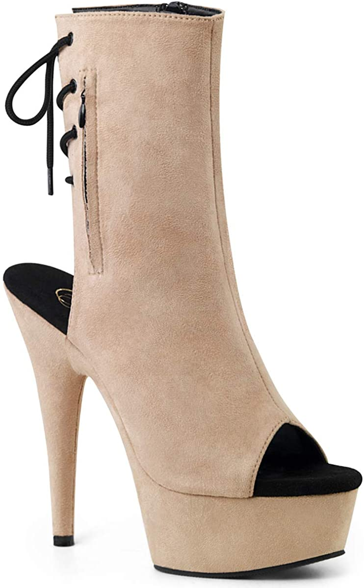 pleaser DELIGHT-1018FS - Open Toe & Heel Faux Suede Ankle Boot with 6