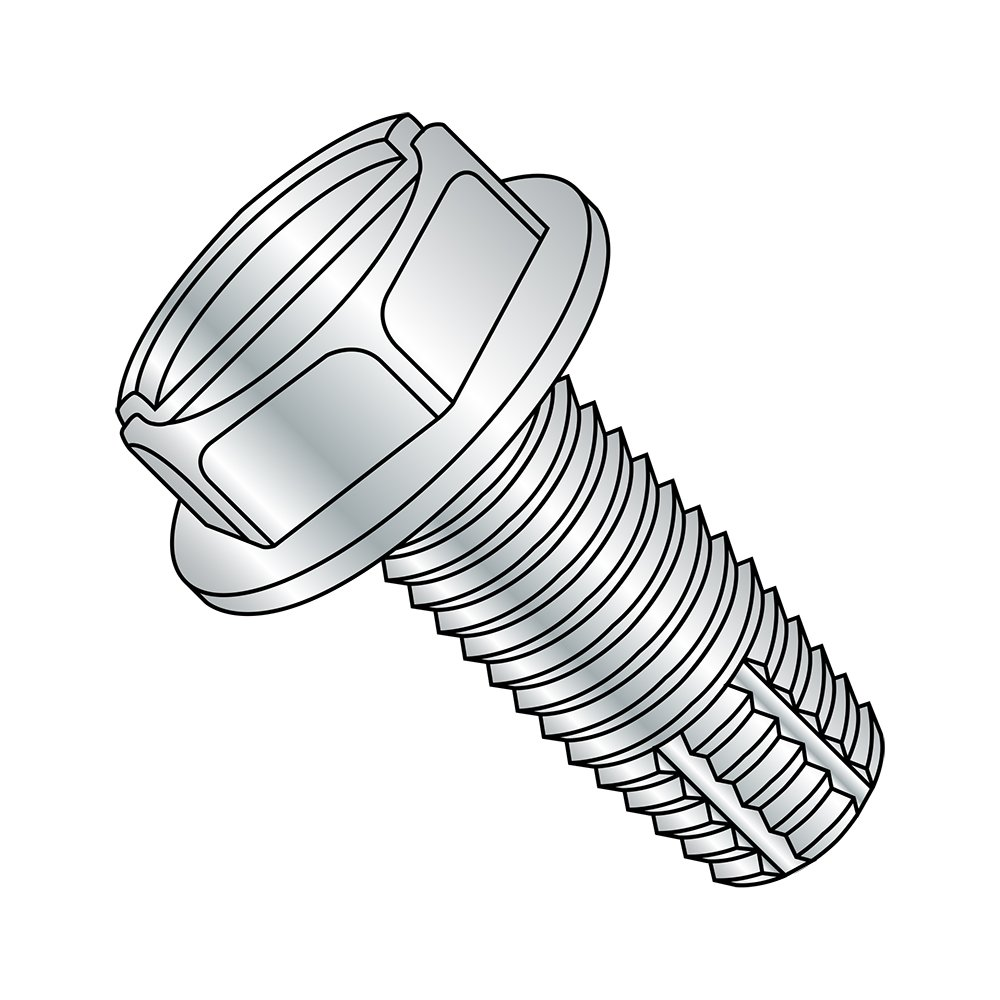 Steel Thread Cutting Screw, Zinc Plated Finish, Hex Washer Head, Slotted Drive, Type F, 5/16