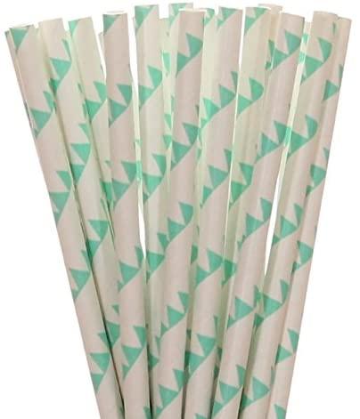 Aqua Blue Pennant Banner Paper Straws (100)