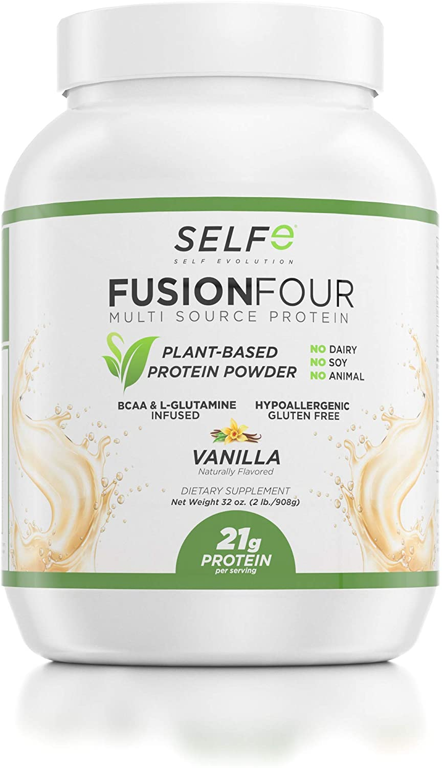 FusionFour Formerly NitroFusion Plant Based Protein Powder - Vegan Protein - Soy, Dairy and Gluten Free - Vanilla - 2lbs