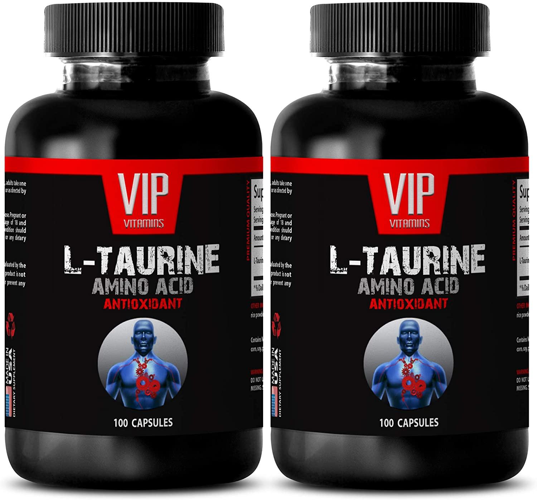 Anti inflammatory Capsules - L-Taurine 500MG - Amino Acid - ANTIOXIDANT - Taurine Energy - 2 Bottles (200 Capsules)