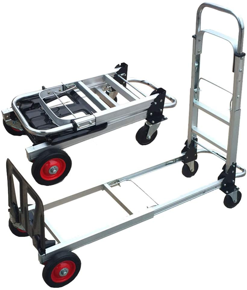 GFYWZZ Lightweight Hand Truck, Folding Telescopic Handle Grocery Pallet Truck and Dolly for Indoor Outdoor Travel,200kg Capacity