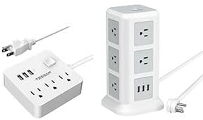 Desktop Power Strip with 3 USB Charger, White Extension Cord for  Home, Office, Dorm Essential