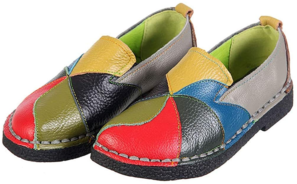 Ladies Summer Flat Loafers Patches Stitching Soft Genuine Leather Moccasins Women