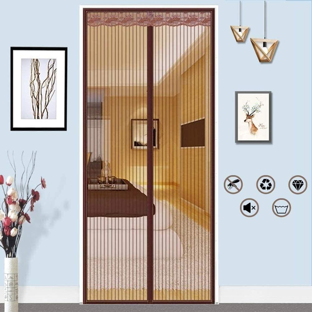 LAMZ Magnetic Screen Door for Patio Balcony French Sliding Door Garage Net for Pet Kid Friendly Door to Keep Bugs Out with Mesh Curtain Brown Heavy Duty Magnets 0730