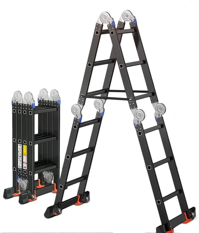 LADDERS Afolding Telescopic Ladder, Scaffolding Ladder Standard Multipurpose Heavy Duty Maximum Capacity 330 Lbs