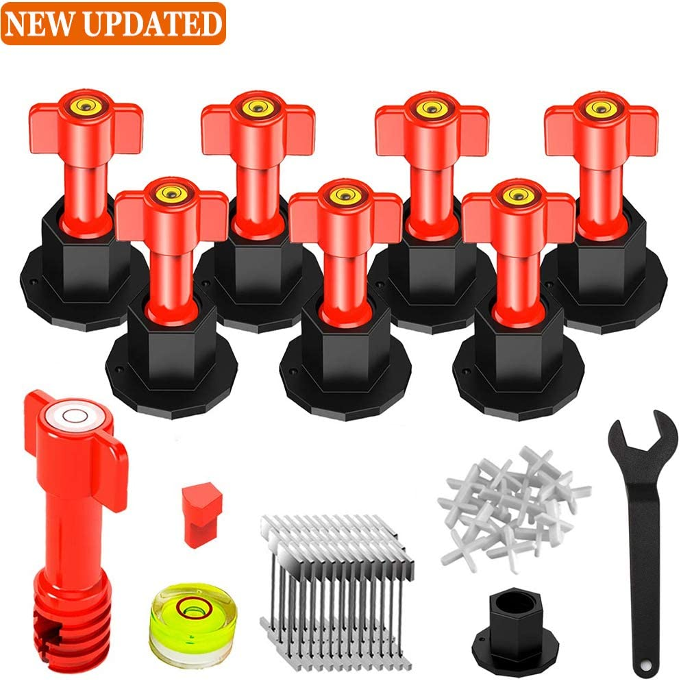 Tile Leveling System Kit, Reusable Tile Tool with Special Wrench, Replaceable Steel Needle Tile Leveler with Level Head Anti-lippage Tile Installation Tools Tile Spacer 1/16 inch for Construction Buil
