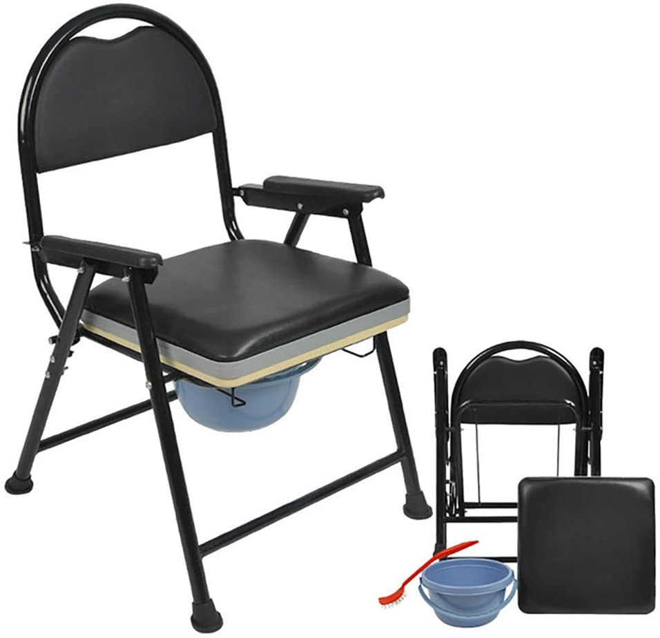 ZSBY Comfort Folding Commode, Lightweight Commode with Removable Padded Seat and Potty, Strong Non-Slip Bearing and Easy to Clean, for The Elderly and The Disabled